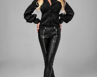 Faux Leather pants / Zipper pants /low waist Black pants / Extravagant pants / Black leggings / Faux leather leggings / Black wedge