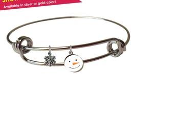 Snowman Bracelet - Winter Bracelet - Winter Jewelry - Holiday Bracelet - Christmas Bracelet- Snowman Charm Bracelet- Stocking Stuffers- Kids