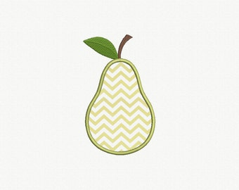 Pear Applique Machine Embroidery Design - 3 Sizes