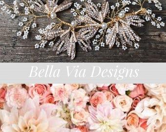 Gold Pearl Hair Clip, Bridal Hair Clip, Pearl Clip. Flower Hair Clip, Wedding Hair Accessory, Rhinestone Hair Clip