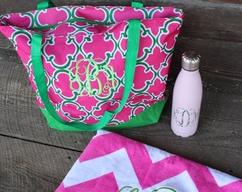 Monogrammed Beach Bag- Monogrammed Beach Towel- Monogrammed Tumbler- Lilly Pultizer- Lilly Inspired