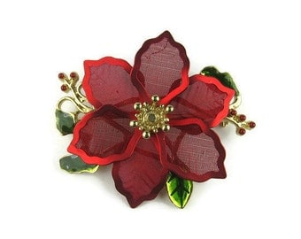 Christmas Poinsettia Brooch