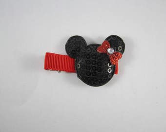 Sequin black red Minnie Mouse handmade hair clip
