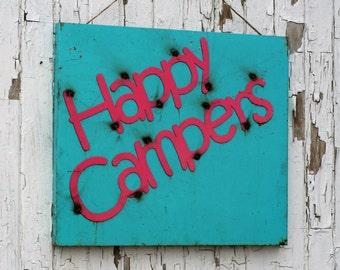 Happy Campers, metal camping sign, Metal Photo Board, camping signs, Vacation Photo Board, Outdoor Camp Sign, Campsite Sign, vintage camper