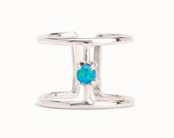 Wire Ring Green Turquoiuse Opal Sterling Silver Adjustable Ring Wrap Ring Boho Jewelry - FRI007SSSO36