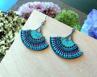 Macrame earrings, Fan earrings, Dangle earrings, Festival Jewelry, Macrame jewelry, Festival earrings, Elven Jewelry, Hippie earrings