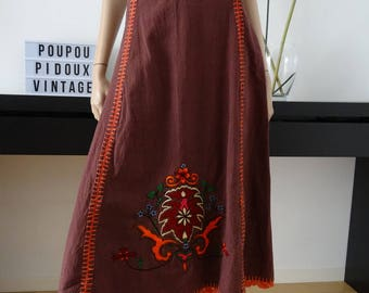 Jupe marron broderies fleurs taille 38/40 / ethnique / hippie / uk 10-12 / us 6-8