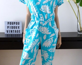combination pants vintage BETTY BARCLAY turquoise /fleuri size 40 / uk 12 / us 8 / size M / jumpsuit