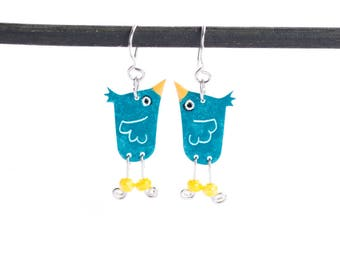 Funny Earrings, Stainless Steel, Blue Bird Funky Earrings,  Statement Earrings, Playful Style, Funny Gift, Whimsical Fun Earrings