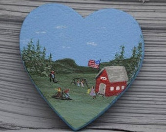Schoolhouse acrylic painting on wooden heart shape