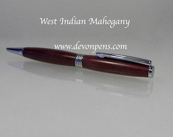 Wooden pen handmade in West Indian Mahogany . Graduation, Birthday, 5th wood anniversary, Christmas or retirement gift.