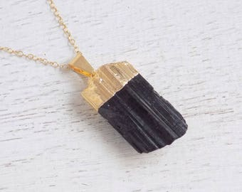 Gift For Her, Tourmaline Necklace, Black Tourmaline Necklace, Raw Tourmaline Necklace, Tourmaline Pendant, Gold Layer Necklace, Boho, 9-17