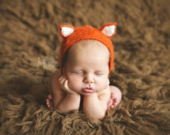 Newborn Baby Fox Bonnet, Fox Bonnet, Baby Bonnet, Newborn Fox Hat, Newborn Knitted PHOTO PROP, Funny Hat for Newborn, Newborn Photo Prop