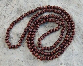 44 Inches Extra Long Beaded Necklace, Stretch, Brown 8mm Wood Beads,Mala,Prayer,Man,Woman,Good Luck,Yoga,Protection,Meditation,Spirituality