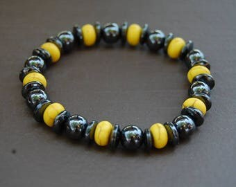 Magnetic Hematite Bracelet,Yellow Stone Beads,Man,Woman,health,Healing,Relieve,Protection,Meditation,Yoga,Stretch,Magnetic Bracelet,Gift