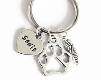 Dog Memorial Keychain Personalized Dog Keychain. Dog Paw. Heart. Dog Paw Keychain. Angel Dog. Angel Wing. Pet Memorial Keychain