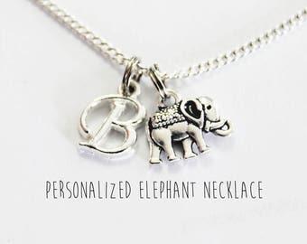 ELEPHANT NECKLACE. Elephant. Animal Necklace. Elephant Jewelry. Initial Charm. Personalized Jewelry