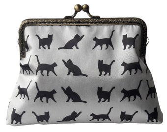 White and Black Cats Satin Fabric Antique Bronze Sew in Clasp Frame Clutch Purse Evening Bag