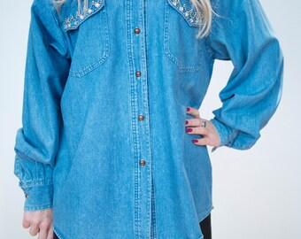 Vintage 80's Embellished Denim Shirt