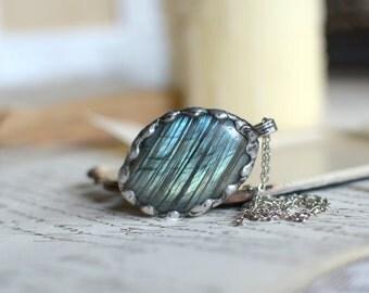 LABRADORITE necklace, blue and green labradorite pendant, magical, polished labradorite, christmas gift, labradorite, statement necklace