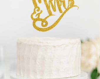 Gold Glitter Happy Birthday Cupcake or Cake Topper Decoration Calligraphy Cursive Script