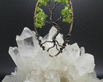 Peridot Tree of Life Copper Pendant.