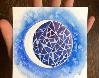 Small Watercolor Painting - Blue Stained Glass Moon