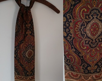 Vintage 60's Silk Navy Blue Rust Red and Gold Paisley Narrow Long Ascot Cravat