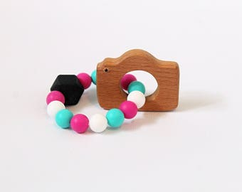 Camera Wooden Teether l Silicone Teether l Teething Toy l Baby Gift