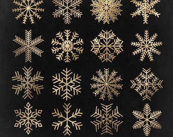 Snowflake Clip Art, Christmas clipart, Gold foil, winter holiday - Commercial Use