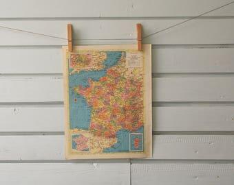 1955 Vintage France Map