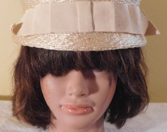 Vintage Hat Straw Hat with Satin Bow by Belmar