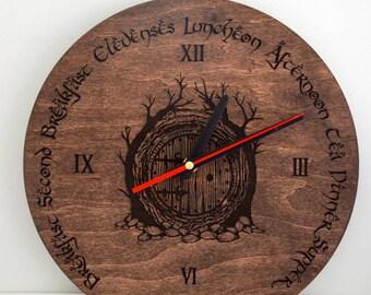 Hobbit Door Engraving Living Room Wood Wall Clock Housewarming New Home Gift for Friend Boyfriend Teen Geek Present Custom Rustic Decor