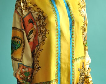 1990s Gianni Versace Couture Silk Animal Blouse