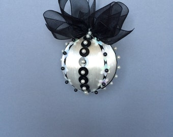 Black & White Collection/White Christmas Ornament With Black And White Sequin Accents/Handmade