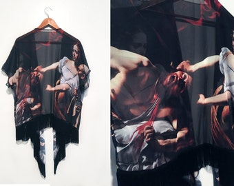 Caravaggio Judith Kimono // Bohemian Chiffon Cardigan with Fringe