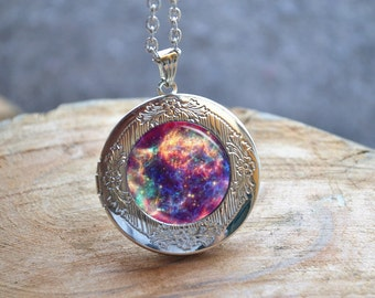 Purple Galaxy Necklace, Galaxy Locket Necklace, Milky Way Jewelry, Space Nebula Jewelry , Galaxy Jewelry, Custom Photo Locket Pendant