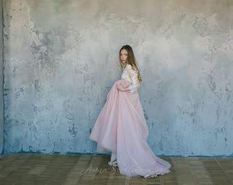 Pink wedding dress,  Tulle wedding dress, Custom wedding dress, Princess wedding dress, Sleeves Summer wedding dress, 0095 // 2017