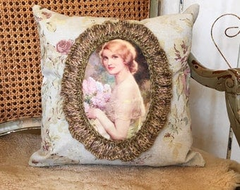 Victorian Pillow. Shabby Chic Style Pillow. Farmhouse Style Pillow.
