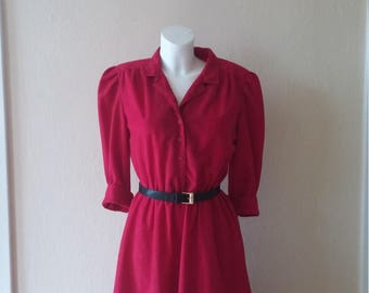 Stuart Alan Petites ~ Vintage Cranberry Red Soft Polyester Shirt Dress with Belt - Size 14/Large