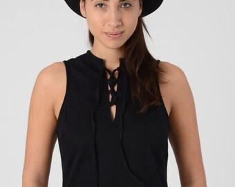 Black Sexy Sleeveless Boho Maxi Dress, Woman's Black Maxi Dress, Tribal Long Dress with pockets, Hippie Evening Dress, Corset back Dress