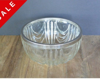 SALE...WAS 22.50 / Vintage Cut Glass Bowl with Silver Plated Rim, England