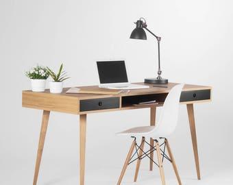Desk, computer desk, office desk, large desk, desk with black drawers, desk with storage, scandinavian design, mid century modern, bureau