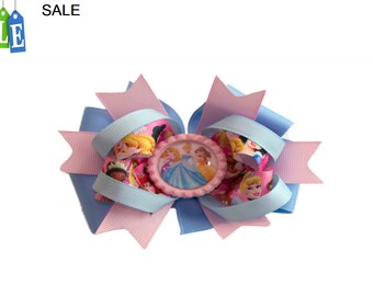 Disney Princess hair bow, character printed grosgrain ribbon, girls hair bow, Kids hair bow, All princess hair bow