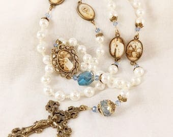 OUR LADY Of FATIMA Mother of Pearl Rosary Handmade 100 Year Anniversary Catholic Heirloom Handcrafted Star of Esther Artisan Rosary Keepsake