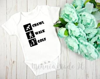 Crawl Walk Golf Baby One Piece - Golfer Mom Dad - Newborn Baby Gift - Golf Parents - Cute Baby Golfing Clothes - Baby Boy Baby Girl Grow