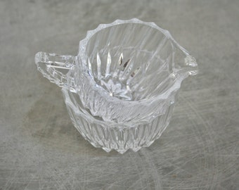 Vintage | Cut Glass Cream & Sugar Set | Modern Lines | 1960's