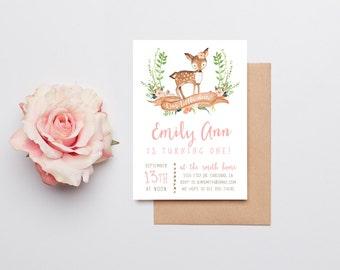 Deer Birthday Invitation Girl, Woodland, Boho Flower Printable Invite (828