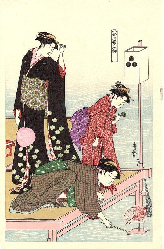 "Japanese Ukiyoe, Woodblock print, antique, Kiyonaga,  ""Cooling off in the Evening at Shijo Riverbank"""