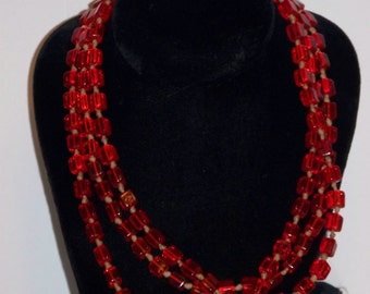 """Vintage 60"""" Red Bead Wrap Necklace"""